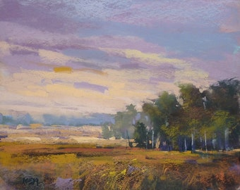 Autumn Marsh Dramatic Sky LANDSCAPE  Original Pastel Painting 8x10