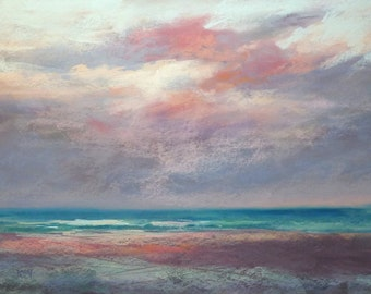 Large Beach Sunset Seascape Florida ART Original Pastel Painting 18x24