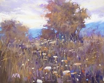 Autumn Meadow wildflowers LANDSCAPE  Original Pastel Painting 8x10