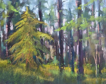 FOREST Trees Summer Landscape Original Pastel Painting Karen Margulis 9x12