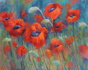 Original Pastel Painting Poppy Red Poppies  floral 18x24 by Karen Margulis psa