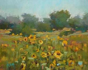 Summer Landscape Sunflowers  Original Pastel Painting Karen Margulis