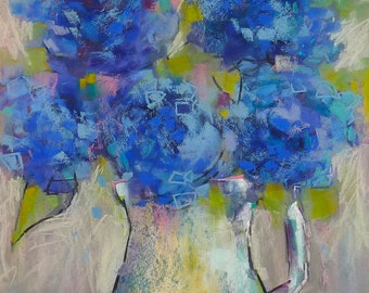 BLUE HYDRANGEAS Large Original Pastel Painting