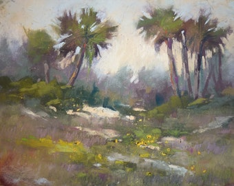 Florida Seascape with Dunes Palm trees Original Pastel Painting 8x10