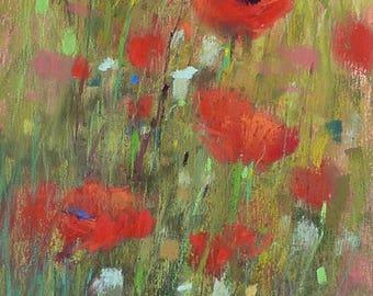 Original Pastel Painting Poppy Meadow  Landscape 11x6 by Karen Margulis psa