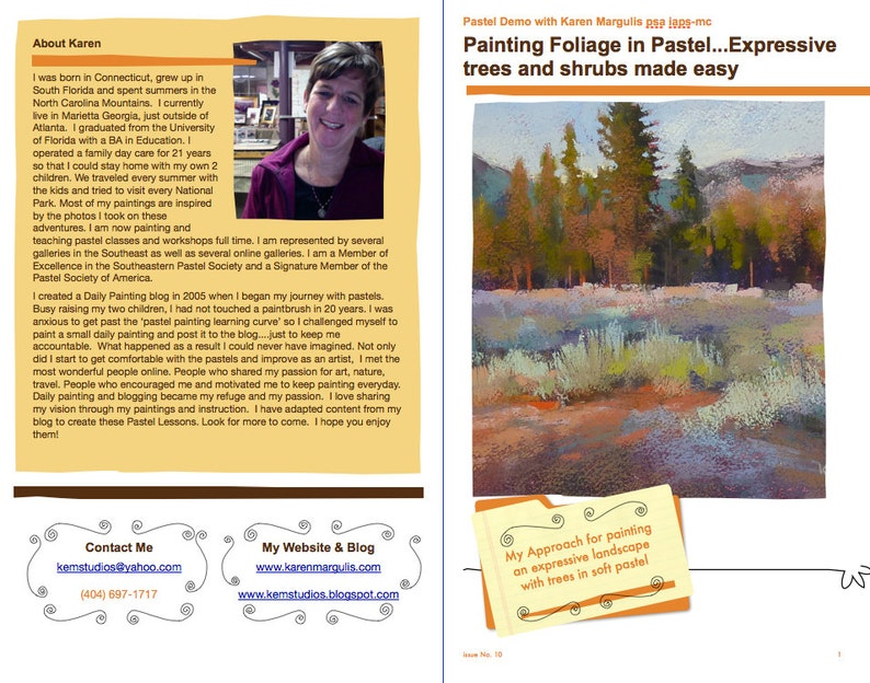 Pastel Painting Lesson Demo PDF Expressive TREES and SHRUBS image 0