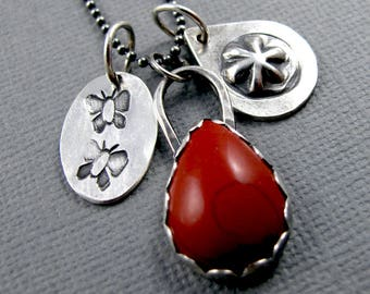 Red Snakeskin Jasper Story Necklace with Stamped Charms - Sterling Silver Tribal Rustic BohoChic Charm Necklace - Butterflies - Butterfly
