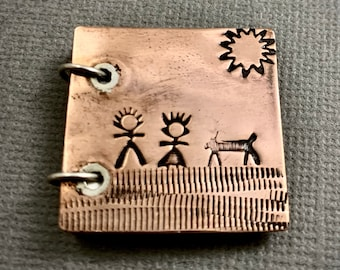 Copper Book Pendant - Boy Girl and Dog Scene - Sunny Day at the Park - Copper and Sterling Silver