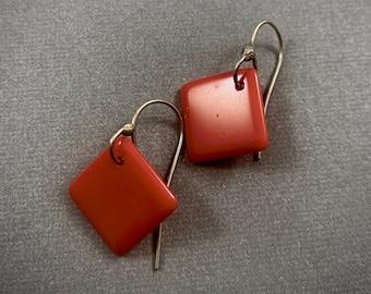Cute Lipstick Red Square Earrings - Vintage Glass Dangle Drop Earrings - Retro Red Earrings