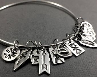 Tiny Charm Bangle - Sterling Silver Bangle with a Dozen Tiny Stamped Native American Style Charm Bracelet