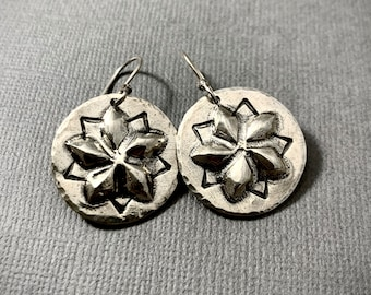 Succulent Flower Earrrings -Sterling Silver Repoussé 3d three dimensional earrings - Flower Dangle earrings - boho chic rustic stamped