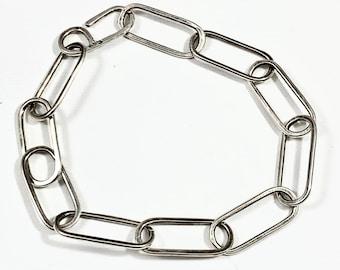 Paperclip Bracelet in Sterling Silver - Elongated link bracelet - Handmade chain
