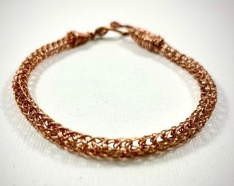 Copper Viking Knit Bracelet - Hand Woven Copper Wire Knitted Bracelet