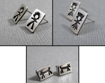 Sterling Silver Post Earrings - Stamped Boy Girl Dog - Mix & Match Earring set - primitive rustic boho style