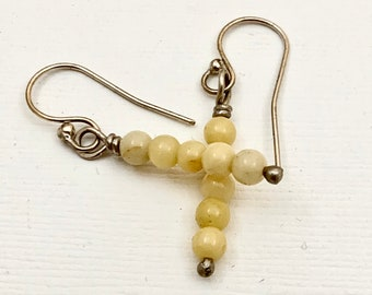 Stacked Yellow Jade Bead Earrings - Jade and Sterling Silver Earrings - Dangle earrings
