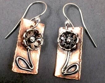 Sterling Silver and Copper Flower Dangle Earrings Handmade Earrings Floral Earrings