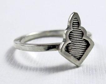 Plume Ring - Sterling Silver rings  - Stamped leaf ring - tribal boho bohemian ring - Stacking Ring
