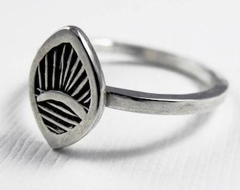 Sunrise Fan Ring - Sterling Silver rings  - Stamped leaf ring - tribal boho bohemian ring - Stacking Ring