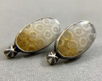 Fossilized Coral Star Post Earrings - Sterling Silver White & Yellow Earrings