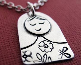Matryoshka Necklace - Sterling Silver Russian Doll - Stamped Matryoshka Pendant