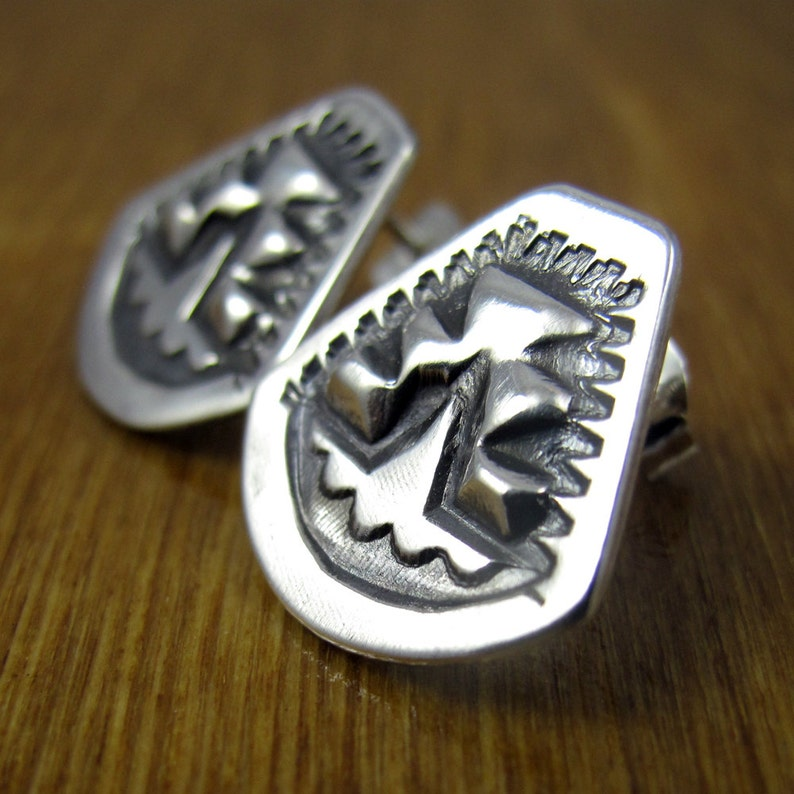 Sterling Silver Post Earrings  Stamped Repoussé  Native image 0