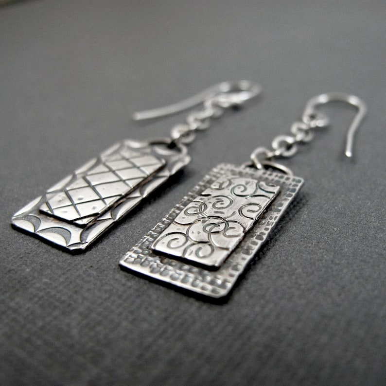 Rectangle Windows long  Sterling Silver Stamped Dangle image 0