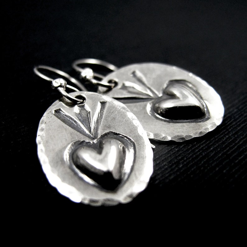 Sacred Heart Dangle Earrings Sterling Silver  Stamped image 0