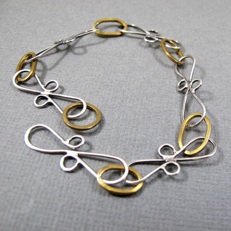 Sterling Siver and Nugold Bracelet Handmade Chain Link image 0