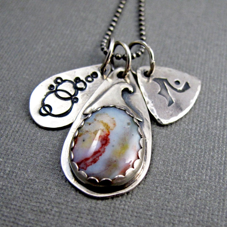 Ocean Jasper Story Necklace with Stamped Charms  Sterling image 0