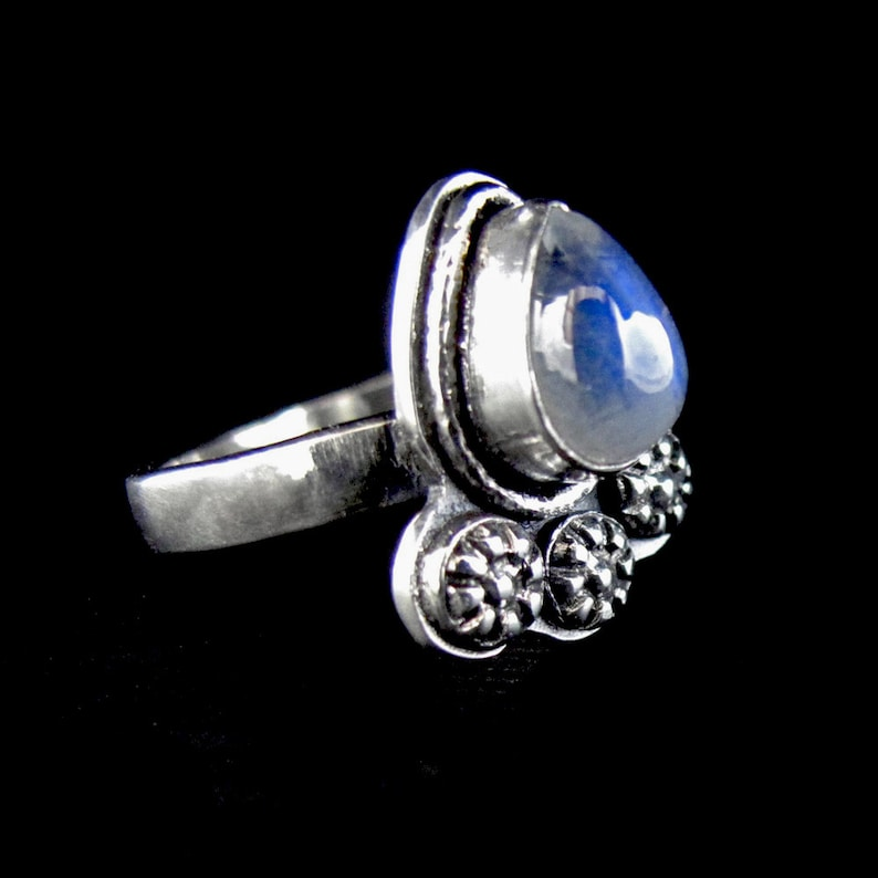 Rainbow Moonstone RIng sterling silver gemstone ring pear image 0