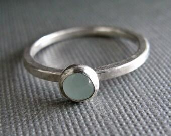 Birthstone Stacking Ring - Sterling Silver & Gemstone - One Ring