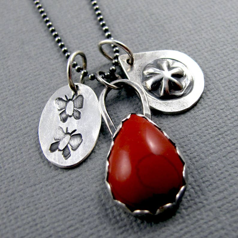 Red Snakeskin Jasper Story Necklace with Stamped Charms  image 0
