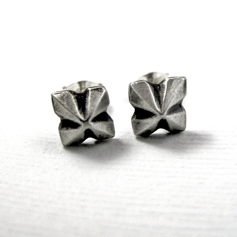 Pyramid Earrings  Stud Earrings  Sterling Silver Post  image 0