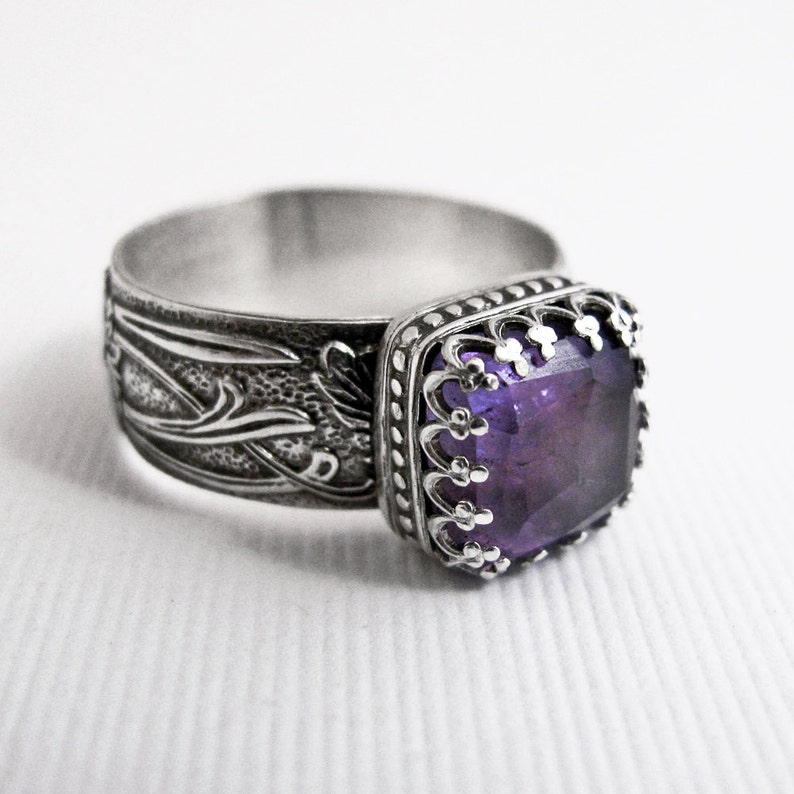 Amethyst Ring: Sterling Silver Square Purple Faceted Gemstone image 0