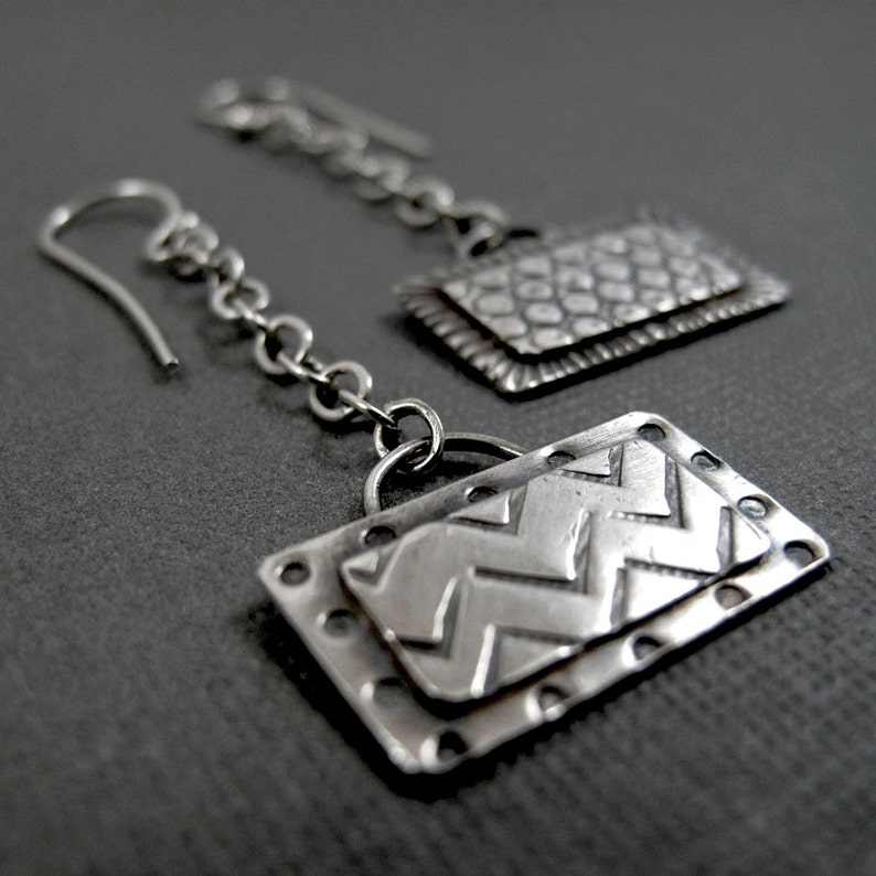 Rectangle Windows wide  Sterling Silver Stamped Dangle image 0