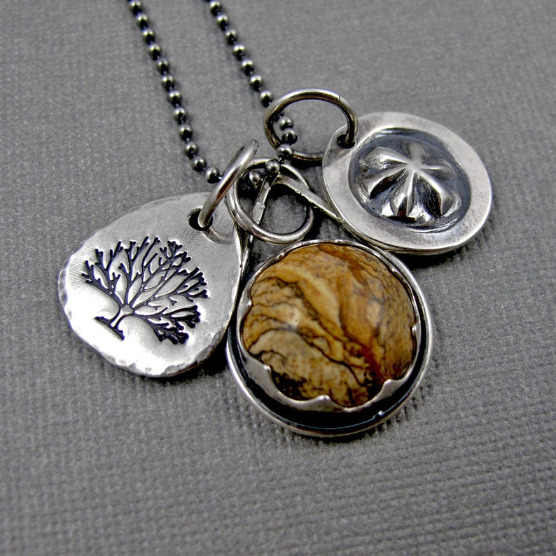 Picture Jasper Story Necklace with Stamped Charms  Sterling image 0