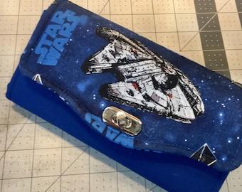 Millennium Falcon Wallet, Star Wars, Handmade, Primarily Blue (Necessary Clutch Wallet)