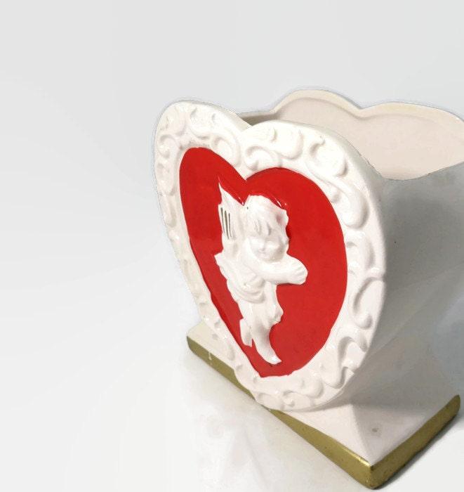 Image 1 of Vintage Valentine's Day Ceramic Planter