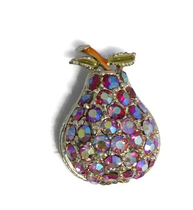 Vintage Pear Rhinestone Brooch Pin