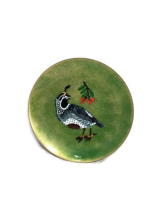 Image 8 of Vintage Enamel on Copper Christmas Plate