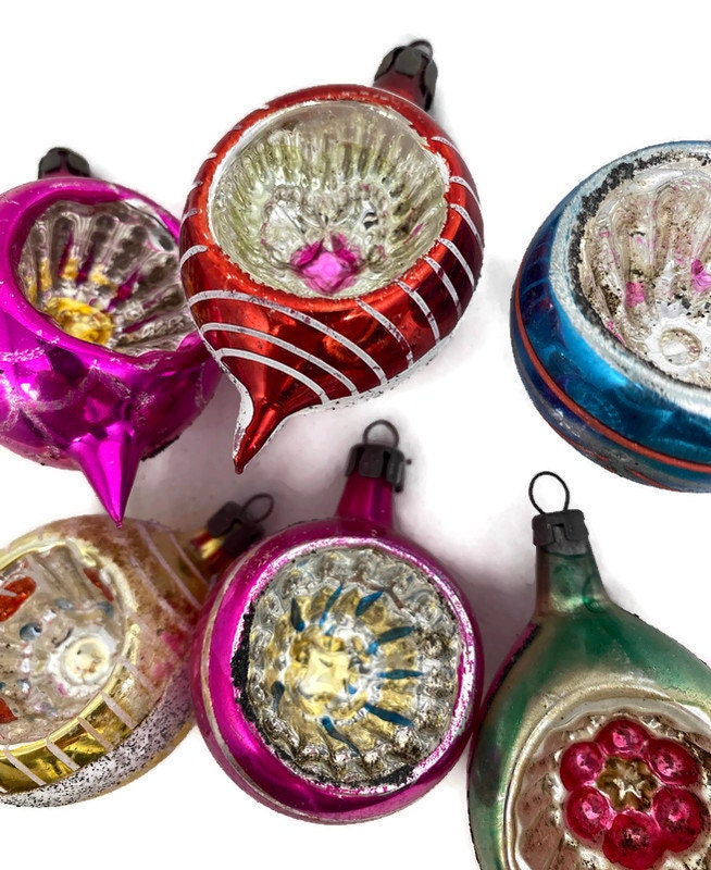 Image 9 of Vintage Glass Christmas Ornaments Indented Reflectors
