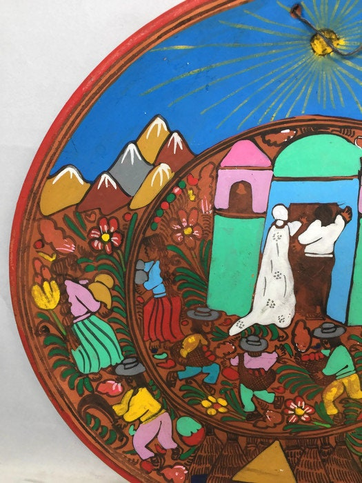 Image 3 of Mexican Folk Art Plate, Red Clay Wedding Dish