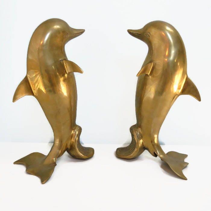 Vintage Brass Dolphin Figurines