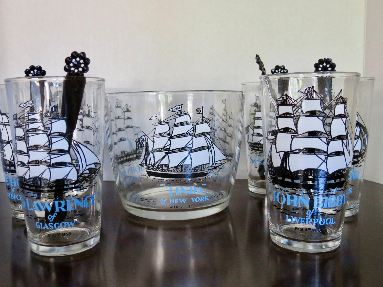 Vintage Clipper Ship Glass Set