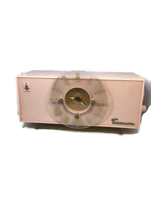 Mid Century Pink Clock Radio, Emerson Electric Telechron