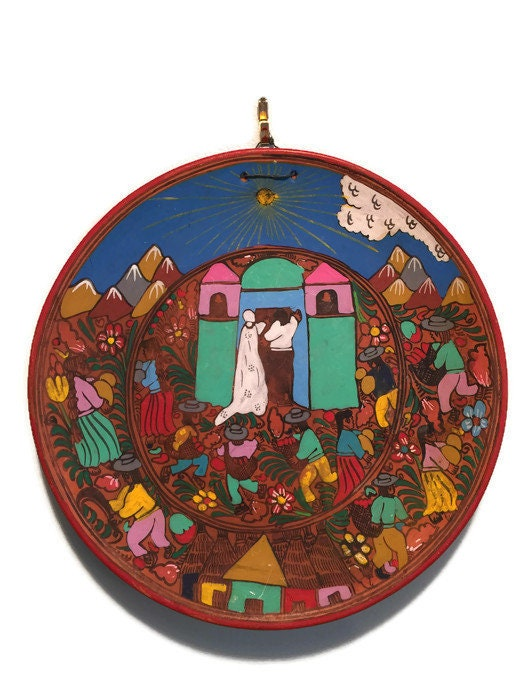 Image 9 of Mexican Folk Art Plate, Red Clay Wedding Dish