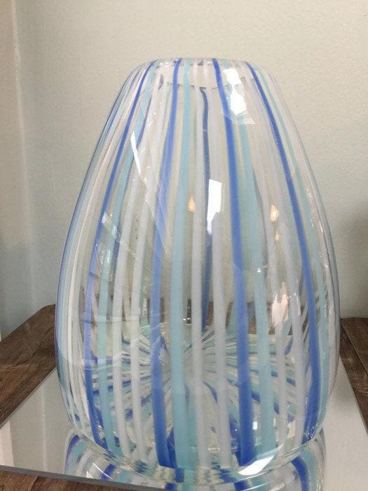 Image 6 of Mid century Murano Vase Blue Swirling Stripes Art Glass