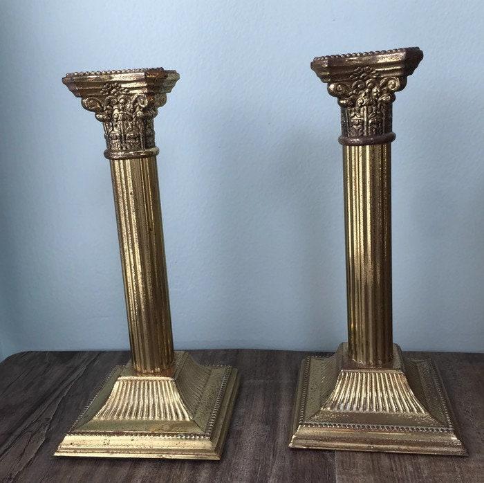 Vintage Brass Column Candlesticks