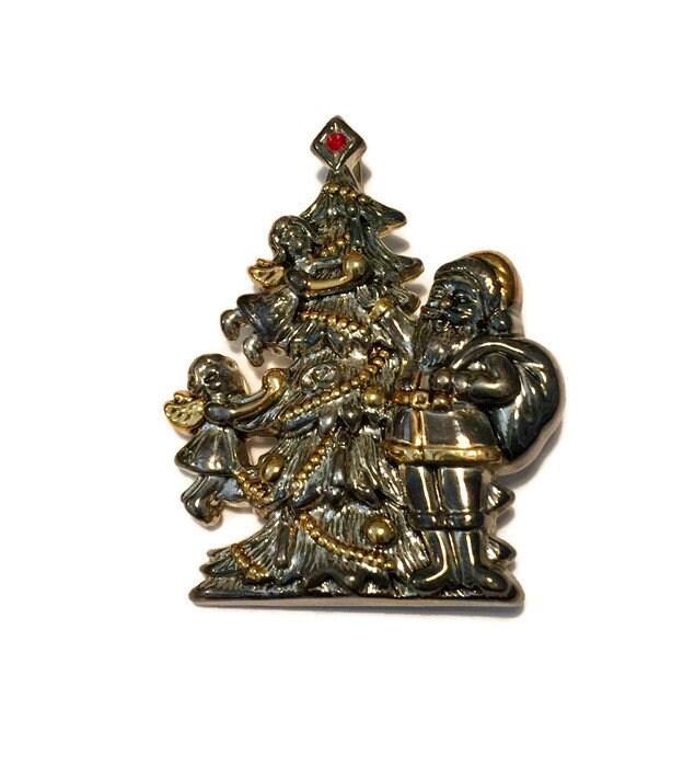 Vintage Christmas Brooch Pin Pendant