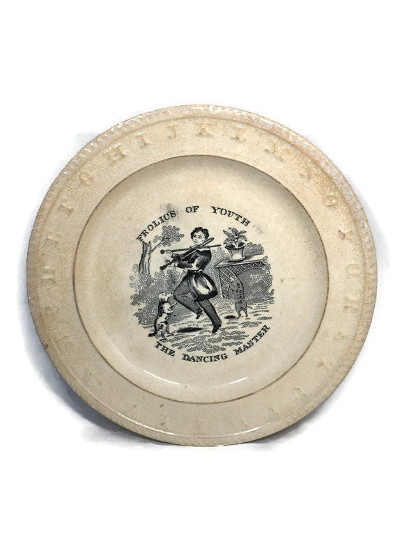 Antique Frolics of Youth Child's Alphabet Plate